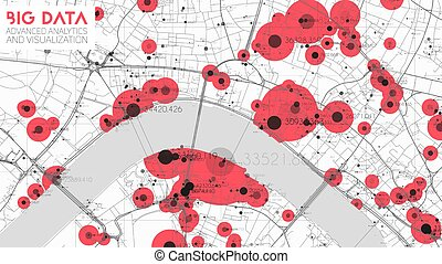 Big data in modern city. Abstract social information sorting visualization. Human connections or urban financial structure analysis. Complex geospatial data. Visual information complexity.