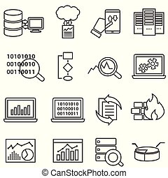 Big data, machine learning and data analysis line icons