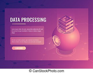 Big data processing concept, abstract futuristic cloud storage, server room, database, energy reactor isometric vector banner 3d