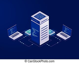 Big data processing concept, server room, blockchain technology token access, data center and database, network connection isometric illustration vector neon
