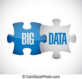 Big data puzzle illustration design over a white background