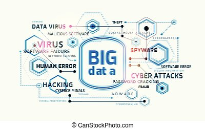 Big data security concept infographic - vector technology background