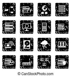 Big data set icons, grunge style