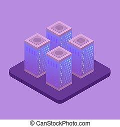 Big data storage technology vector illustration concept. Cloud server room rack, network data center, energy station of future