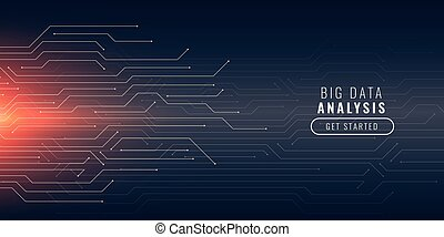 big data technology background with circuit lines