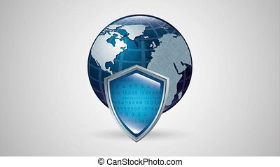 big data technology with shield and planet ,hd video...