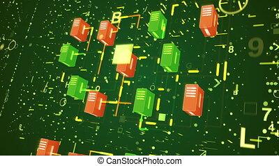 """Big Data Transfer through multicolored blocks"""