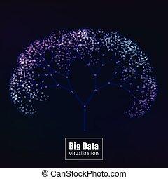 Big data visualization. glowing tree vector
