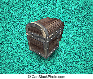 Big data, wood treasure chest in huge green characters background.