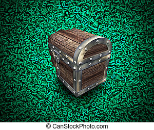 Big data, wood treasure chest in huge green characters background.