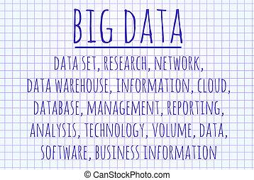 Big data word cloud written on a piece of paper