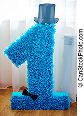 Big decorated number 1 with black hat for a birthday