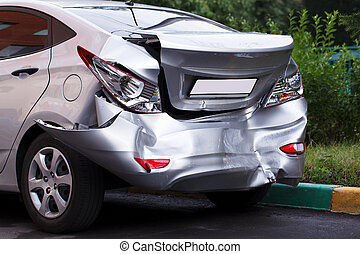 Big dent on car - A car has a big dent after an accident