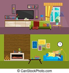 Big detailed Interior set/Living room: nice couch/lamp/coffee table/cactus/fireplace/firewood/flower vases/bookshelves/photo frame/coffee cup/television set/TV set/Home furniture/Interior design.