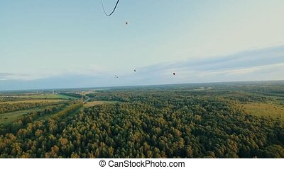 Big different air balloons flying above the green forest....