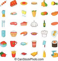 Big dinner icons set, cartoon style
