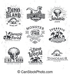 Big Dinosaur Vector Logo Set. Triceratops t-shirt illustration concept. Raptors security insignia design template. Vintage Jurassic Period labels. Theme park badge