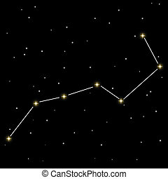Big Dipper - Big dipper star constellation isolated on black...