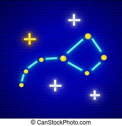 Big Dipper constellation with neon stars - Big Dipper (Ursa...