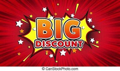 Big Discount Word Retro Cartoon Comic Bubbles Seamless loop...