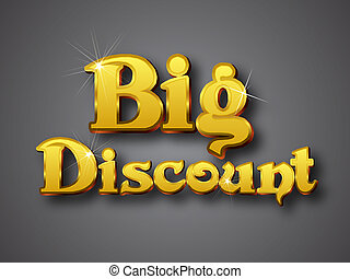 Big Discount Write in Big Gold 3D Font