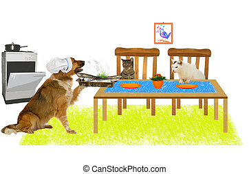 Big dog is serving fish to two cats