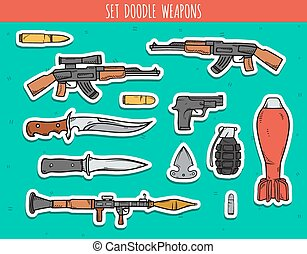 Big doodle set sticker of weapon, shells, handwork bombs.