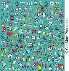 Big doodled medicine and health icons collection. Small...