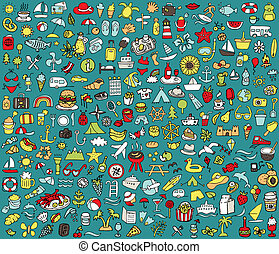 Big doodled summer and holidays icons collection. Small hand-drawn illustrations (vignette) are isolated (group) and in eps8 vector mode.