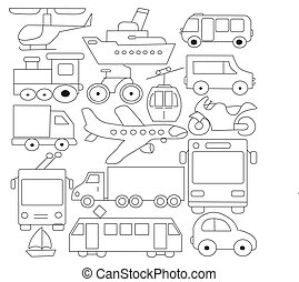 Big doodled transportation icons collection in black-and-white. Small hand-drawn illustrations are isolated (group)