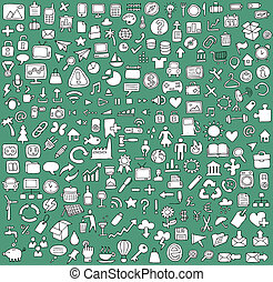 Big doodled web and mobile icons collection