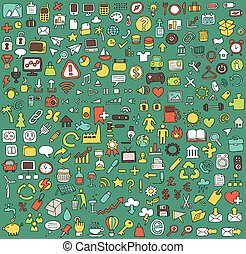 Big doodled web and mobile icons collection in colours....
