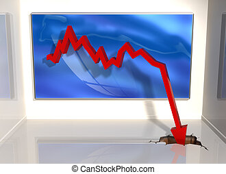 Big downturn - Illustration of a graph where the figures ...