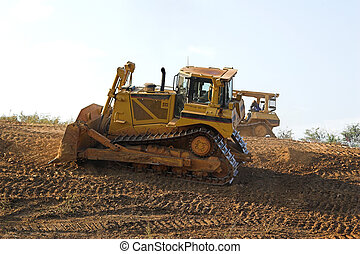Big Dozers - Two dozers shaping ground for new highway