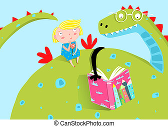 Big Dragon Reading Book to Little Girl