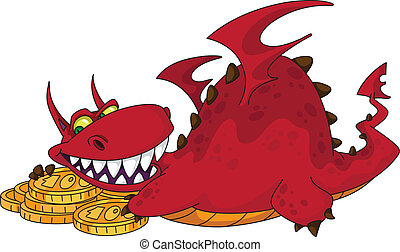 big dragon with money - illustration of a big dragon with...