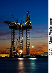 Big drilling platform in dock