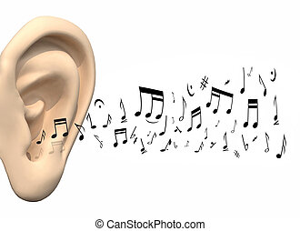 big ear and music notes coming, 3d illustration