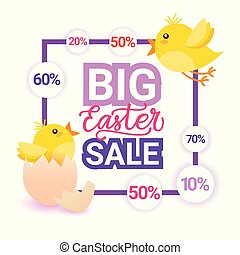 Big Easter Sale Holiday Greeting Card Poster Discounts Banner Design