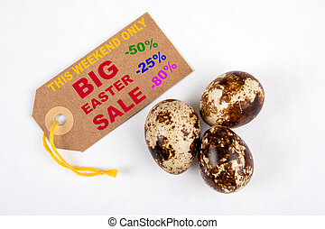Big Easter Sale. Weekend, Holidays, Traditions, Discount and Seasonal Items Concept