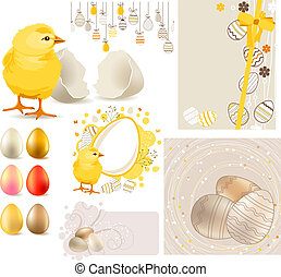 Big Easter Set with Yellow Chicken and Eggs