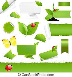 Big Eco Design Elements, Isolated On White Background,...
