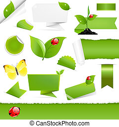 Big Eco Design Elements, Isolated On White Background,...