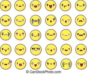 Big emotional face icons set kawaii.Flat design Vector