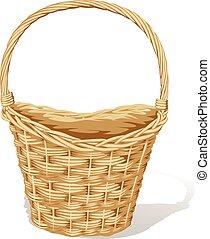 big empty basket isolated on white - vector illustration