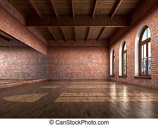 Big empty room in grange style with wooden floor, bricks...