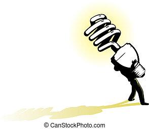 Big Energy Saving Idea - illustration of a business man...