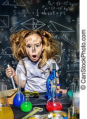 big explosion in laboratory - Funny little girl doing...