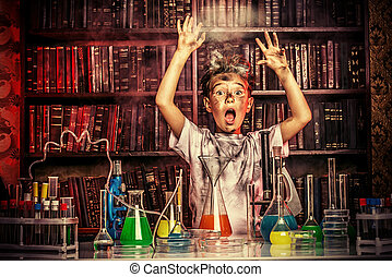 big explosion - A boy doing experiments in the laboratory....