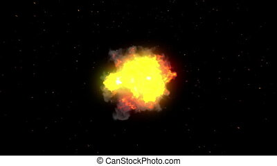 Big explosion with flash and sparks